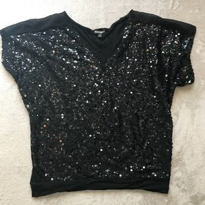 Express Small Black Sequined Blouse